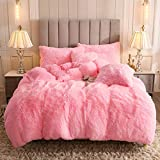 Uhamho Faux Fur Velvet Fluffy Bedding Duvet Cover Set Down Comforter Quilt Cover with Pillow Shams, Ultra Soft Warm and Durable (Twin, Pink)