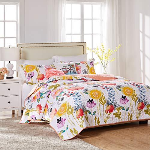 Greenland Home Watercolor Dream Quilt Set, 2-Piece Twin, White
