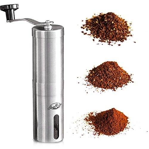 JavaPresse Manual Coffee Grinder with Adjustable Setting - Conical Burr Mill & Brushed Stainless Steel Whole Bean Burr Coffee Grinder for Aeropress, Drip Coffee, Espresso, French Press, Turkish Brew 10