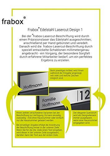 Frabox® Design Paketkasten NAMUR anthrazitgrau RAL 7016 / Edelstahl, mit Hausnummer & Namen - 7