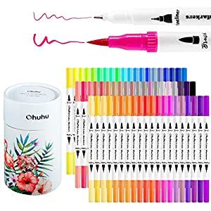 FLEXIBLE DUAL TIPS: These dual tipped marker pens are a must-have for your next masterpiece. Use the brush tip for coloring, shading, and blending, and the fine tip for smaller details. You can do it all with one marker! And it also includes replacem...