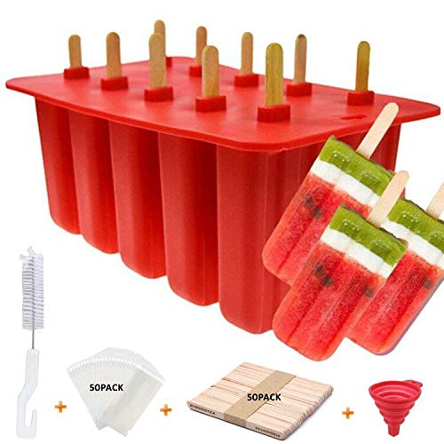 AZONBEY Popsicle Molds Shape Maker,10pcs Homemade ICE Pop Molds Food Grade Silicone BPA-Free Popsicle Moulds with 50 Popsicle Sticks 50 Popsicle Bags Silicone Funnel,Cleaning Brush(Red)
