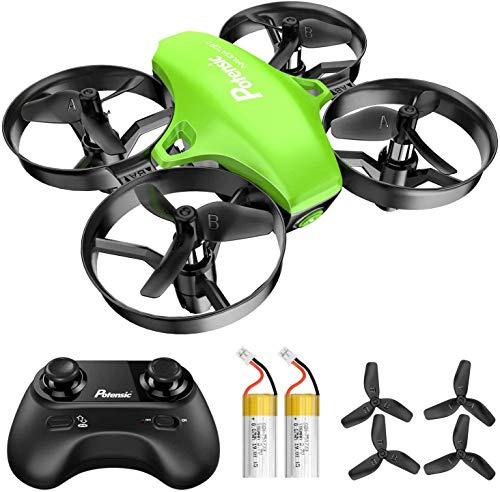 Potensic Mini Drone A20 con Due Batterie per Bambini e Principianti Quadricottero RC Drone Giocattolo Economico modalit Senza Testa con Telecomando Avvio e Atterraggio con Un Pulsante, Verde