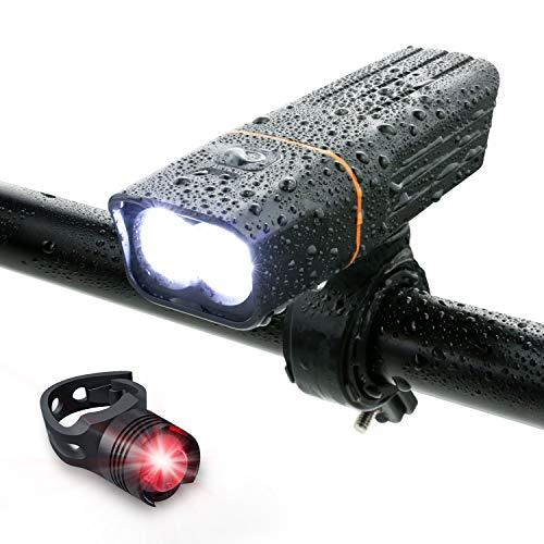 自転車 ライト LED 防水 800ルーメン 2600mAh 大容量電池 USB充電式 自転車用ヘッドライト クロスバイク ロ...