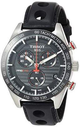 Tissot Men's PRS 516 Chrono Stainless Steel Swiss Quartz Leather Strap, Black Casual Watch (Model: T1004171605100)