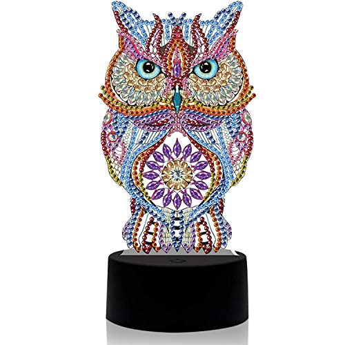 3D Owl Led Light Diamond Painting Art Kits Night Table Lamp Seven Colors, DIY Handmade Special Shaped Diamond Beads for Design Arts Craft Home Decoration Lamp with Toolkit and USB Cable(Owl) (Owl)