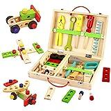TONZE Caisse à Outils Bois Enfant 3 4 5 Ans-Jeux Bricolage Boîte à Outils en...