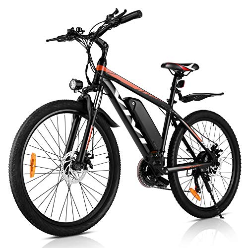 VIVI 26'VTT électrique 250W 36V 10.4Ah Batterie Amovible vélo de Banlieue 25MPH 21 Vitesses Engrenages Adulte e-Bike (Orange)