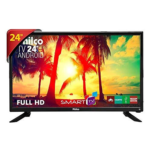 TV LED 24', Philco Smart PTV24N91SA, Preto