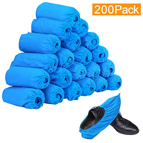 200 Pack Disposable Boot & Shoe Covers, Non-Slip, Extra Thick, Durable & Water Resistant, 100 Pairs (Fit up to US Men's 11.5, US Women's 12.5 sizes)