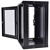 Safstar Wall Mount IT Network Server Cabinet Enclosure Data Devices Rack (18U, Tempered Glass Type 2)