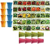 Set of 40 Assorted Vegetable & Herb Seeds with 16 Bamboo 3.5' x 3.75' Planters 40 Varieties Create a Deluxe Garden All Seeds are Heirloom, 100% Non-GMO!