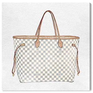 """The Oliver Gal Artist Co. Fashion and Glam Wall Art Canvas Prints 'Royal Handbag Ivory' Home Décor, 36"""" x 36"""", White, Brown 12"""
