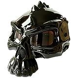 Half Helmet Motorcycle, Open Face Helmet Skull Cap, Quick Release Buckle and Built-in Goggles, for Bike Cruiser Chopper Moped Scooter ATV-Black_B_L