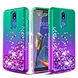 Wallme LG K40 Case,LG Solo LTE(L423DL)/Harmony 3/X4 2019/LMX420/Xpression Plus 2 Case W[Tempered Glass Screen Protector] Glitter Diamond Falling Hearts Phone Case for Girls Women-Mint/Purple