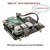 Geekworm Raspberry Pi 4 SATA, Raspberry Pi 4 Model B 2.5 inch SATA HDD/SSD Expansion Board X825 USB3.0 Shield for Raspberry Pi 4B