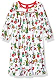Dr. Seuss Girls' Toddler Holiday Soft Knit Flannel Granny Gown, White Grinch, 3T