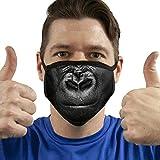 Btruely Mundschutz Maske Stoffmaske Groß Lustiges Tier Mund Drucken Enttäuschter Gorilla/Affe Wiederverwendbar Waschbar Weiches Baumwollgefühl Polyester Fabrik Interessante Person