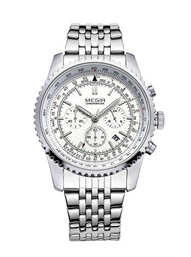 Megir, Militär-Armbanduhr für Herren, Edelstahl, Chronograph & Kalender, Leuchtquarz-Armbanduhr, silberfarben
