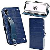 EFGS iPhone XR 手帳型 ケース エンボスクロコ ブルー MSカードケース 【左開き】 iPhonexr TP……
