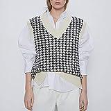 UANOU Argyle Plaid Y2k Moda para Mujer Cuello en V de Gran tamaño Chaleco de Punto Suéter Sin...
