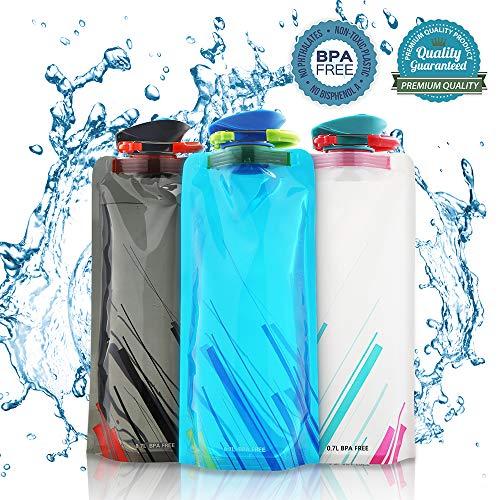 Nasharia 700ML Faltbare Wasserflaschen Set von 3 ━ BPA Frei, Wiederverwendbar...