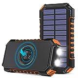 Hiluckey Chargeur Solaire 26800mAh avec 4 USB Portable Batterie Externe Qi...