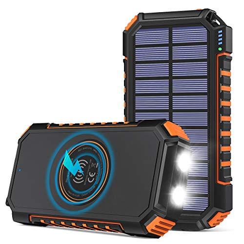 Hiluckey Chargeur Solaire 26800mAh avec 4 USB Portable Batterie Externe sans Fil Powerbank avec...