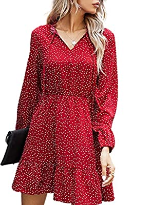 Mini dress with polka dot pattern printed can make an elegant and eye-catching look. The soft and airy material of the tunic dress can provide a premium wearing experience. A high waist dress with v-neck and long sleeves is good to show your feminine...