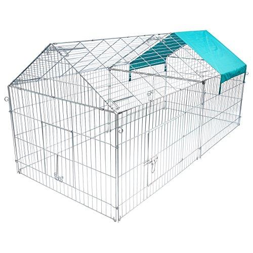EUGAD Hasengehege Freigehege Kaninchenstall Freilauf Gehege Kleintiergehege mit Ausbruchsperre Sonnenschutz 0200HT