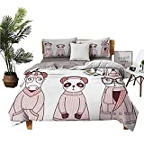 Doodle Pattern Duvet Cover Set with Zipper Closure Hand Drawn Animals with Coats Earmuffs and Hats Cartoon Style Illustration, Comforter Cover Light Weight Pink and Eggplant
