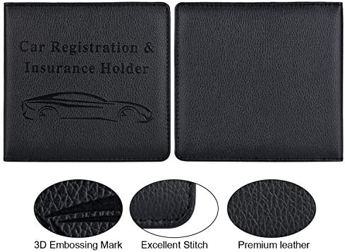 Car Registration and Insurance Holder, Vehicle Glove Box Car Organizer Men Women Wallet Accessories Case for Cards, Essential Document, Driver License by Cacturism, Black 14