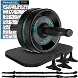 Fitness Insanity Ab Roller Wheel, 6-in-1 Ab Roller Kit with Knee Mat, Push-Up Bars, Resistance Bands, Workout Poster, Workout Guide, Perfect Home Gym Equipment for Men Women Abdominal Exercise