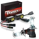 TXVSO Neueste Mini 12 V 55 W Xenon HID Conversion Kit Scheinwerfer für Auto Fahrzeug Ersatz Halogenlampe Set, H4 (9003 Hi/Low) 8000K Kristallblau