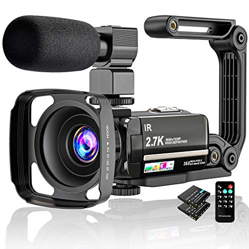 Videocamera Digitale Ultra HD 2.7K UHD 36MP per vlogging per Youtube IR Night Vision 3.0'LCD Touch Screen 16X zoom digitale con registratore palmare stabilizzatore per microfono, 2 batterie