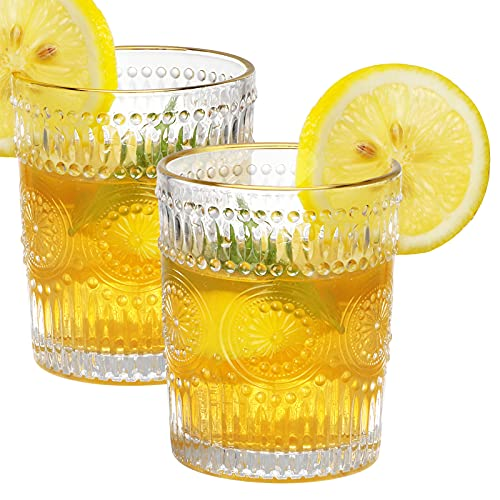KAMERUN Bicchieri da Whisky,Bicchieri Trasparenti dal Design Vintage,Set di da 2 Bicchieri per Cocktail o Succo di Frutta