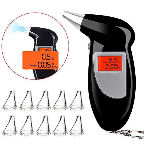 Faburo Etilometro Portatile Digitale, Professionale Alcool Test con Schermo LED Display, Alta Sensibilità Sensore Semiconduttore Alcool Tester con Bocchini 10 Pezzi (2 Batterie AAA Non Incluse)