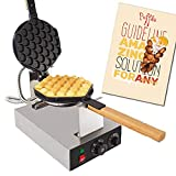 ALDKitchen Bubble Waffle Maker for Egg Puff and Hong Kong Waffles | Professional Electric Bubble Waffle Iron with Nonstick Coating and Manual Thermostat | Stainless Steel | 110V