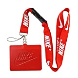 Nike Red Faux Leather Business ID Badge Card Holder with Keychain Lanyard