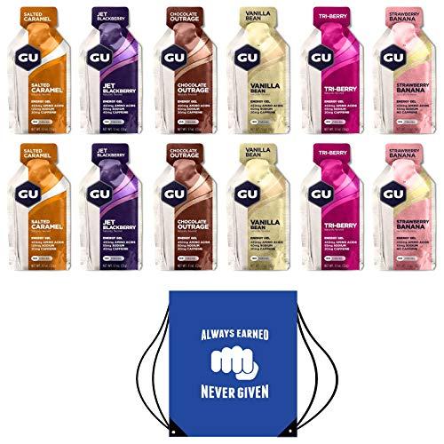 GU Energy Gels - Box of 12 Including Free Motivational Drawstring Kit/Shoe Bag (Mixed Box Original)