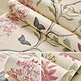 Presentimer Fondos rústicos Florales de época Estilo Pastoral Flores y pájaros Papeles Pintados de no Tejido Verde Dormitorio Sala de Estar Fondo Fondos de Pantalla Art Deco Beige