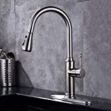 GAVAER Kitchen Faucet with 3 Functions Pull Down Sprayer, 360° Swivel Spout Hot and Cold Water Kitchen Faucet, Lead Free Stainless Faucets with Deck Plate