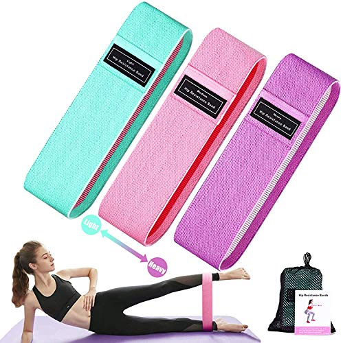 GETKO WITH DEVICE 3 Resistance Loop Bands for Legs and Butt Set, Gym and Yoga Resistance Exercise Bands Workout Training Bands for Home Fitness, Crossfit, Elastic Strength Squat Band Beginner
