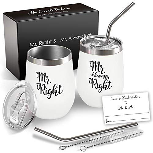 Mr and Mr Wine Tumbler Set, 12 Oz Insulated Stainless Steel,...