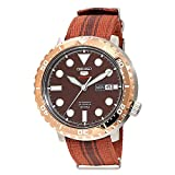 Seiko 5 'Bottle Cap' Sports 100m Automatic Root Beer Rose Gold Bezel Nylon Watch SRPC68K1