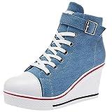 rismart Mujer Cuas Zapatos De Lona High-Top Casuales Cremallera de Moda Zapatillas Talla Grande...