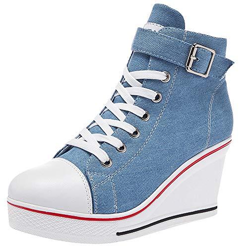 rismart Mujer Cuñas Zapatos De Lona High-Top Casuales Cremallera de Moda Zapatillas Talla Grande SN02438(Azul,38 EU)
