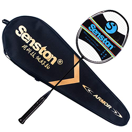 Senston N80 Graphite Single High-Grade Badminton Racquet, Professional Carbon Fiber Badminton Racket, Carrying Bag Included Black Color