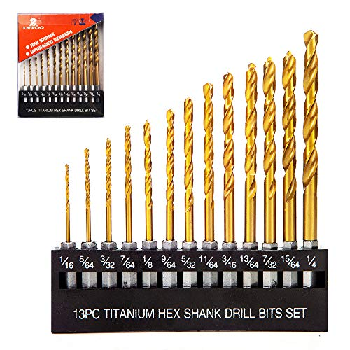 INTOO Drill Bit Set 13 Piece 1/16'-1/4' Quick Change...