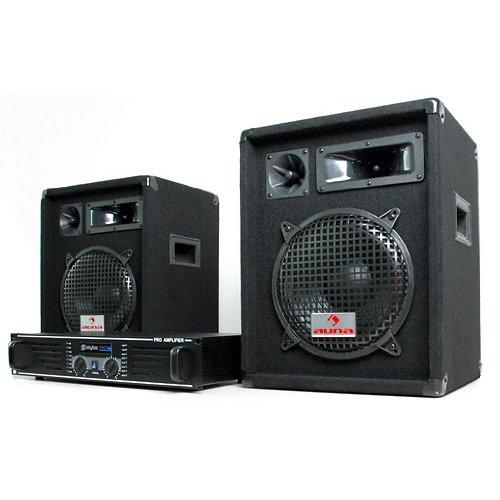 DJ Set'Nizza Nights' impianto audio completo PA (2 x casse altoparlanti AUNA 480 Watt, Amplificatore Skytec finale di potenza 2 x 240 Watt, MOSFET, set di cavi)